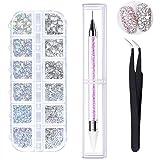 6 tailles de cristaux AB pour nail art strass et strass transparents avec pince à épiler et stylo à pois