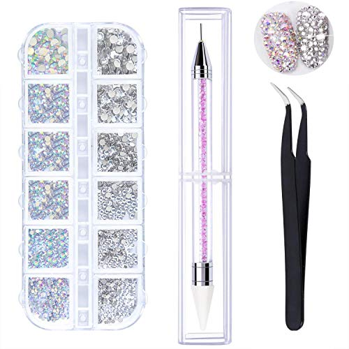 LATERN 1500 Stück AB Crystal Nail Art Strasssteine ​​und Clear Crystal Strasssteine ​​6 Größen (1,5-3,8 mm) mit Pick Up Pinzette, Strass Picker Dotting Pen
