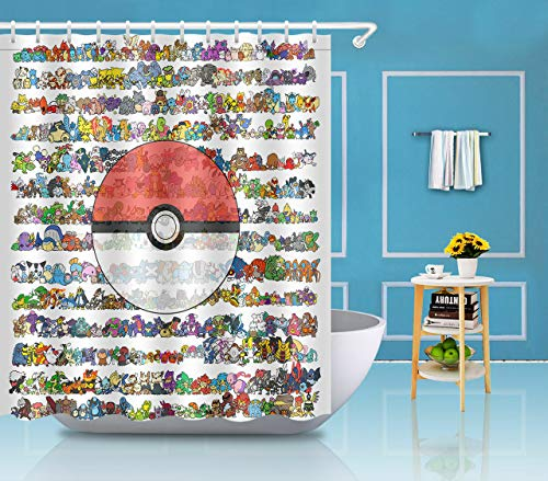 Nyngei Pokemon Ball Duschvorhang Liner Badezimmer Wasserdicht Polyester Stoff Haken 183 x 183 cm
