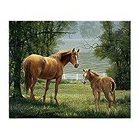 1000ピースアートパズル大人のための草の木のパズルの上に2頭の馬
