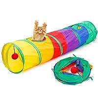 Etopfashion キャットトンネル 猫のおもちゃ 猫トンネル ペット用品 ボール付き 折り畳む 軽量 収納便利 遊ば場所 ボタン付きで長くすることができる 小型犬 うさぎなど 適用される