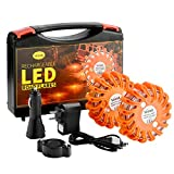 SlimK Rechargeable Led Road Flares Emergency Lights For Vehicles & Boat Flares - Super Bright Roadside Safety Disc with AC Adapter & Car Charger - Magnetic Emergency Flares