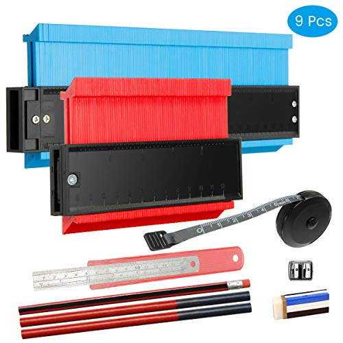 HIRALIY Konturenlehre, 2er-Pack Konturmessgerät mit 7 Messwerkzeugen für unregelmäßig geformte Profile - Konturlehre Duplikator Messgerät 10 '' Blau, 5 '' Rot
