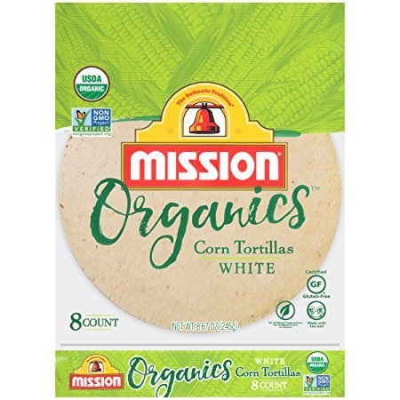 Mission Foods Organics White Corn Tortillas Kosher Certified by CRC Non-GMO Project Certified Organic Certified Gluten Free 2 Packs (16 Counts Total)
