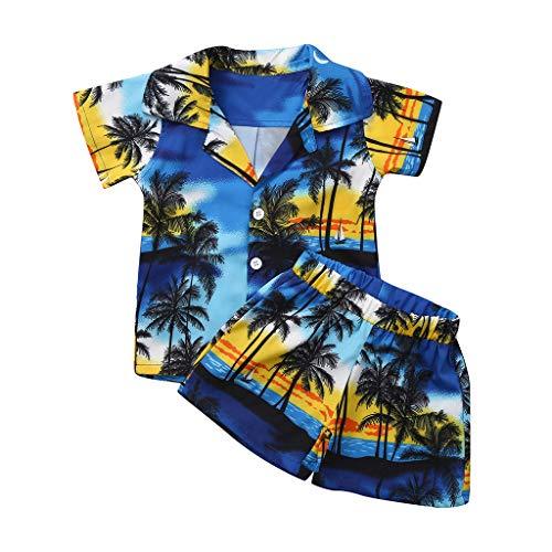 Babykleidung Eingestellt,1-4 Jahre Alte Babykleidung Kinder Boy Kurzarm Leaf Leaf Drucken Tops Shirt Lässige Kurze Hose Beach Party Freizeit Outfit Kinderanzug(Blau,12-18 Monate/90)