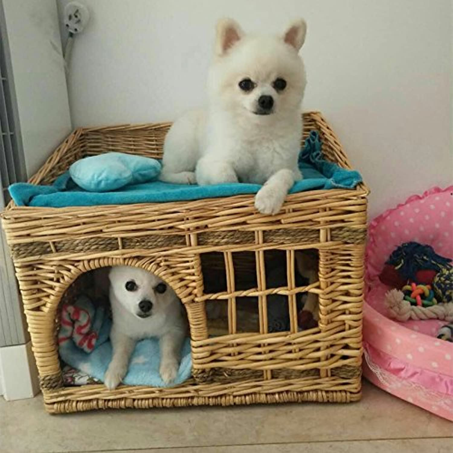 Baiao Four Seasons Available Square Two Level Rattan Wicker Pet(Small Dog Cat Rabbit) Dog Houses with Cushion Original color