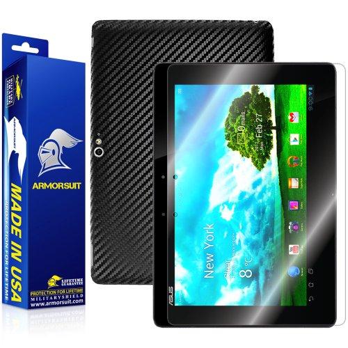 ArmorSuit MilitaryShield Black Carbon Fiber Skin Wrap Film + HD Clear Screen Protector for Asus Transformer Pad Infinity 700 - Anti-Bubble Film