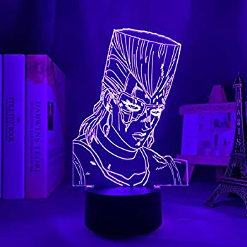 SCNYCUL 3D Night Light Erect Hairstyle Scar Tough Guy 16 Colors USB LED Table Lamp Lovers Girlfriend Gift Children Toy Bedroom Decoration Christmas Gift