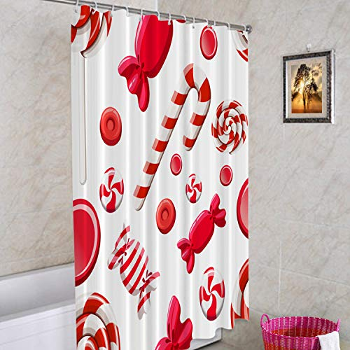 Batmerry Rot Weiß Braun Weihnachten dekorativer Duschvorhang, Rot Weiß Grün Sweet Peppermint Candy gestreift niedlich lang breit mit rostfreien Ösen für Badezimmer wasserdicht waschbar