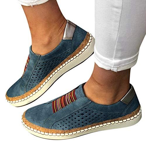 Zapatillas de deporte de las mujeres, Las mujeres del dedo del pie redondo de la lona de los zapatos de deslizamiento en los zapatos ocasionales de deporte zapatos de caminata zapatos mocasines