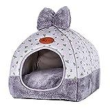 ANQI - Tienda de campaña para mascotas en iglú 2 en 1 plegable y acogedora escondite para dormir con cojín extraíble lavable para gatos, conejos, perros pequeños y ratas
