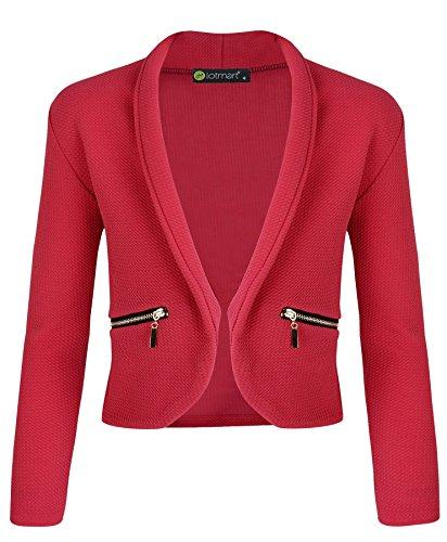 LOTMART Ragazze Manica Lunga Aperto Zip Frontale Tasca della Giacca Bambini Giacca Cardigan - Rosso Brillante, 3-4 Anni