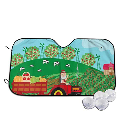 Rterss grootvader rijden trekker met oogst fruit voorruit zon schaduw vizier voorzijde venster glas voorkomen dat de auto van verwarming tot binnen aangepaste