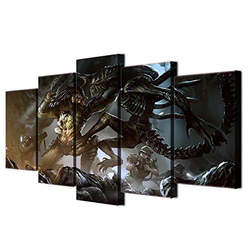 13Tdfc Cuadro En Lienzo, Imagen Impresión, Pintura Decoración, Cuadro Moderno En Lienzo 5 Piezas XXL, 150X80 Cm,Película De Terror Alien Vs Predator Murales Pared Hogar Decor