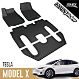 3D MAXpider Tesla Model X 6-Seater 2016-2020 (with Center Console) Custom Fit All-Weather Car Floor Mats Liners, Kagu Series (1st, 2nd & 3rd Row, Black)