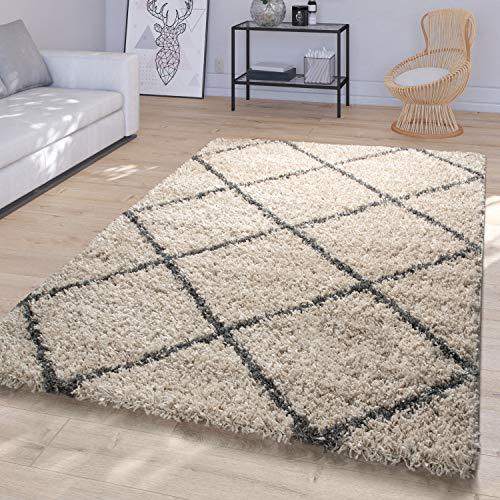 TT Home Wohnzimmer Hochflor Teppich Shaggy Modernes Rauten Design In Skandi Optik, Beige Grau, Größe:160x220 cm