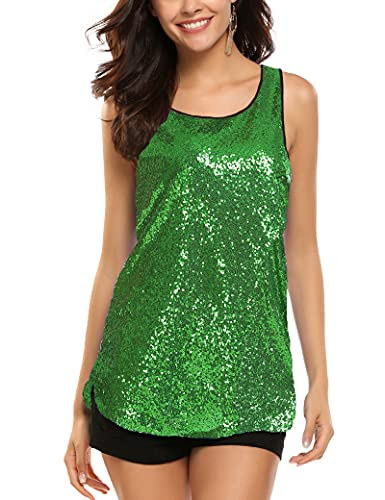 Zeagoo Women's Sleeveless Sparkle Shimmer Camisole Vest Sequin Tank Tops,3-green,Medium