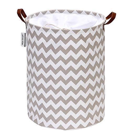 Sea Team Chevron Muster Wäschekorb Leinwand Stoff Wäschekorb Faltbarer Vorratsbehälter mit PU-Ledergriffen und Kordelzugverschluss, 17,7 x 13,8 Zoll, wasserdicht innen, grau