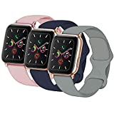 Idon 3-Pack Compatible for Apple Watch Bands 40MM/38MM S/M, Soft Silicone Replacement Sport Watchbands Compatible for Apple Watch Series SE/6/5/4/3/2/1 (Concrete + Midnight Blue + Pink Sand)