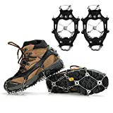 GIORDON Crampons with 19 Spikes, Stainless Steel Ice Cleats Traction Cleats Snow Grips for Snow Boots and Shoes, Safe Protect Grips for Hiking Fishing Walking Mountaineering (Black, Large)