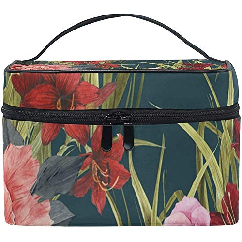 Cosmetic Bag, Roses Flower Floral Travel Makeup Organizer Bag Cosmetic Case Portable Train Case