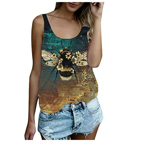 Find Bargain CrazyFashion Women's Casual Round Neck Sleeveless Vest Animal Print Loose Summer Tank T...