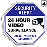 Video Surveillance Sign Outdoor | 24 Hour CCTV Camera Surveillance Sign, Large 12x12 Rust Free Premium Aluminum, Weather/Fade Resistant, Easy Mounting, Indoor/Outdoor Use, Made in USA by SIGO SIGNS