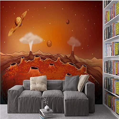 HDDNZH muurschildering op maat, 3D grote muurschildering behang Hd-universum ruimte planet cartoon sterrenhemel TV sofa achtergrond muur kinderkamer slaapkamer huisdecoratie 260cm(H)×420cm(W)