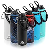 Extremus Deluge Sports Water Bottle, Stainless Steel Vacuum Insulated Water Bottle,Thermos with 100% Leak-Proof Travel Lid, w/Paracord Survival Handle, 32 oz, Prym1 Rocket Pop