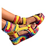 Kinrui Platform Sandals for Women,Gladiator Ankel Strap Harness Chunky Wedge Heel Comfortable Velcro Flats (6, Yellow)