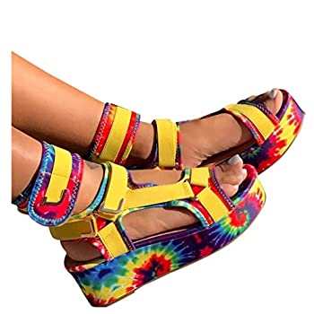 haoricu Womens Snakeskin Multicolor Sandals Summer Open Toe Platform Wedge Sandals Casual Shoes Yellow