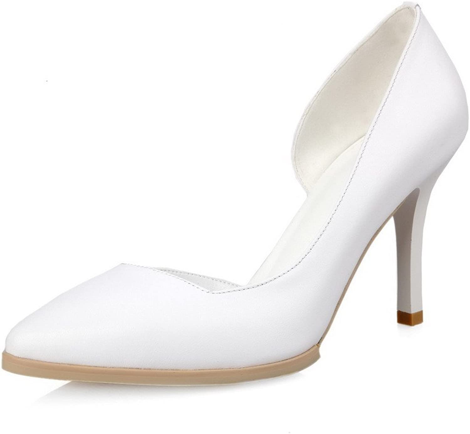 AllhqFashion Women's Closed Pointed Toe Cow Leather High Heels Pumps with Stiletto and Curves Style