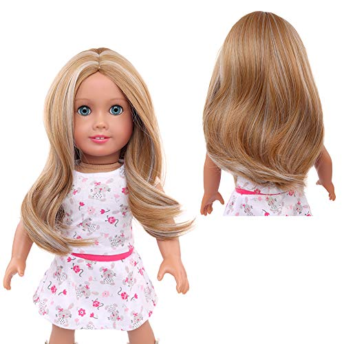 AIDOLLA Doll Wigs for 18'' American Dolls, Girls Gift Heat Resistant Long Straight Hair Replacement Wigs for 18'' Dolls DIY Making Supplie 1309-26 22&