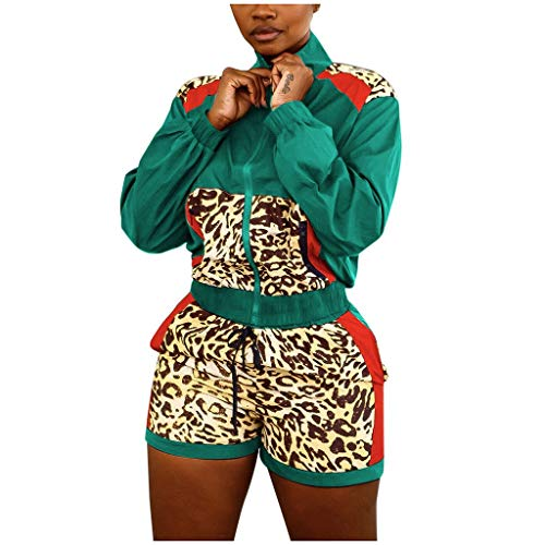 Read About Missli Women Long Sleeve Zip Jacket + Leopard Patch Print Shorts Sports Suit 2 Piece Swea...