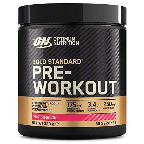 Optimum Nutrition Gold Standard Pre Workout en Polvo, Bebida Energética con Creatina Monohidratada, Beta Alanina, Cafeína y Vitamina B Complex, Sandía, 30 Porciones, 330 g, Embalaje Puede Variar