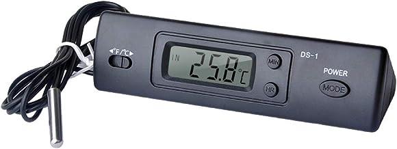 Festnight Mini termómetro Termómetro electrónico digital para coche Termómetro multifunción para interiores y exteriores Pantalla de temperatura y tiempo con sonda