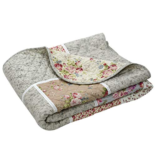 Brandream Twin Size Quilted Blanket Cotton Farmhouse Floral Patchwork Quilt Lightweight Comforter Bedspread for Daybed