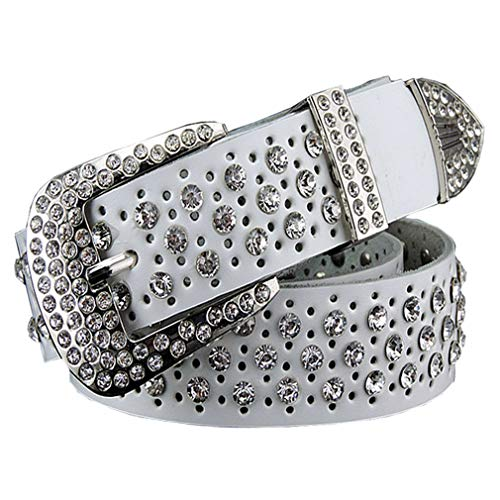 Yueling Mode Strass Echtes Leder Gürtel Für Frauen Luxus Breite Dornschließe Gürtel Frau Zweite Schicht Rindsleder Strap White 115cm
