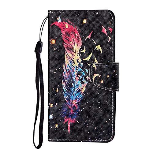 Funda de teléfono Samsung Galaxy A32 4G, piel sintética termoplástica, diseño de plumas y pájaros de colores