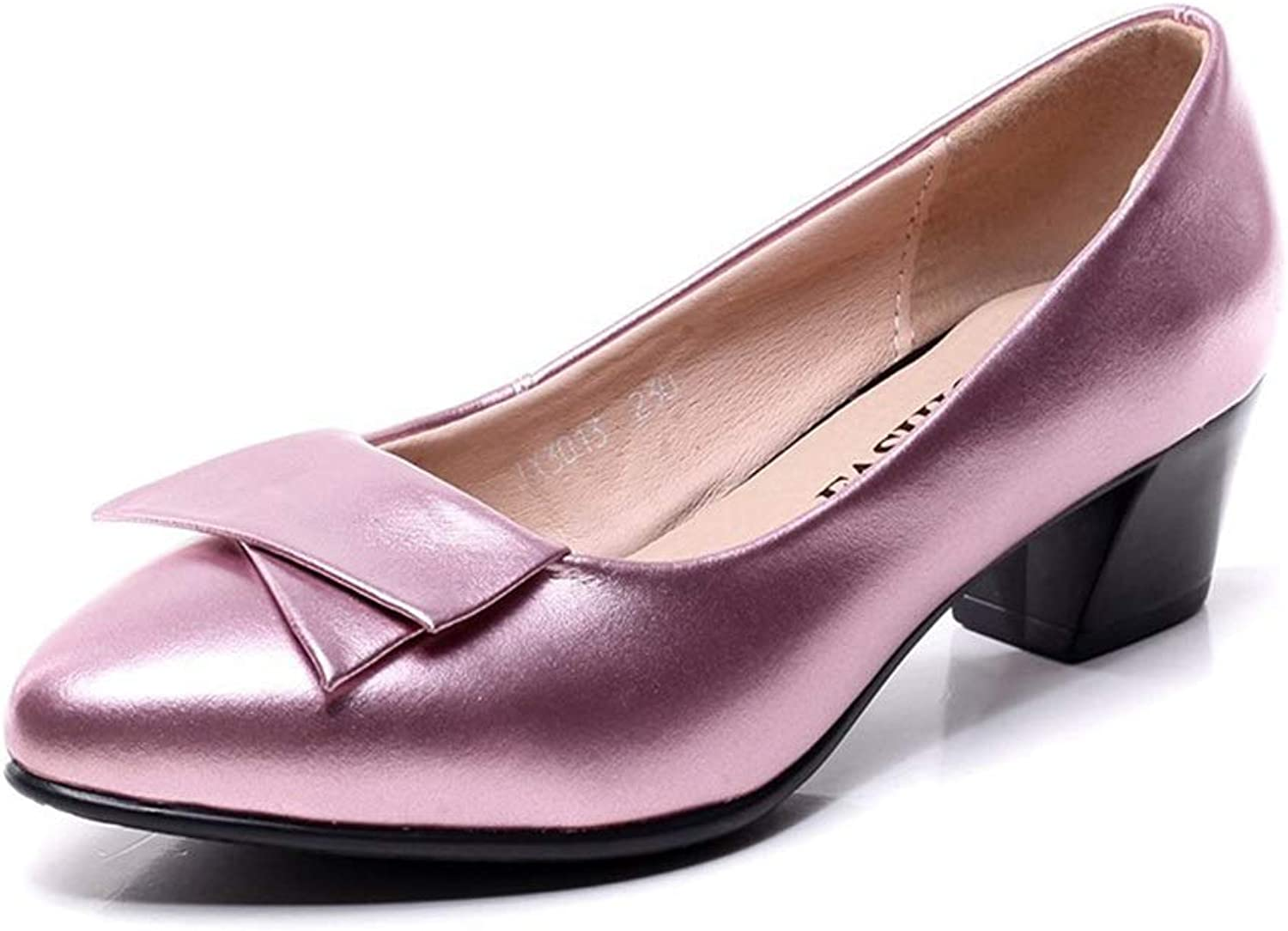 Large Size shoes Dress Professional Women's shoes Fashion Pointed Shallow Mouth Thick with Flat Work shoes in The Low-Heeled Work Leather shoes (color   Pink, Size   37)