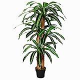 Outsunny Planta Artificial Decorativa Dracaena con Maceta Árbol Sintético de 66 Hojas para Jardín Balcón Oficina Salón Ø20x160 cm Verde