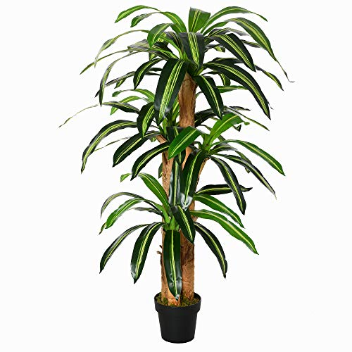 Planta Artificial Decorativa Dracaena con Maceta Árbol Sintético de 66 Hojas para Jardín Balcón Oficina Salón Ø20x160 cm Verde