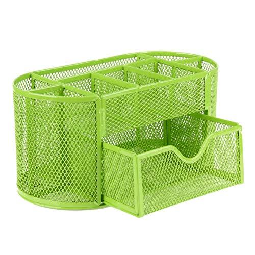 Hirkase Schreibtisch Organizer, Schreibtisch Tidy Mesh Tidy Organizer, Tisch-Organizer Multifunktions -Organisator Metall (Grün)