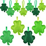 Hicarer St Patrick's Day Shamrocks Fabric 3D Ornament Luck Clover Shaped Ornaments Irish Shamrock Hanging Decoration for Tree Baubles Table Shelf Festival Decorations (Bright Color,24 Pieces)