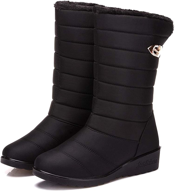 Women Winter Snow Boots Waterproof Durable Mid-Calf Boots Warm Lightweight Boots Flat Winter shoes