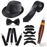 Haichen Mens 1920s Set Set Gatsby Costume Gangster Panama Manhattan Chapeau Fedora Bretelles, Bretelles Y-Back & Nœud Papillon, Cravate, Cigare Jouet et Fausse Moustache (Noir)