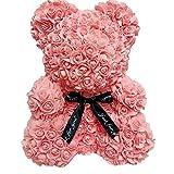 DERCLIVE Ultra Suave Oso Rosa Flor de Juguete Muñeca Romántica Regalo para Fiesta de Cumpleaños Día de San Valentín Boda