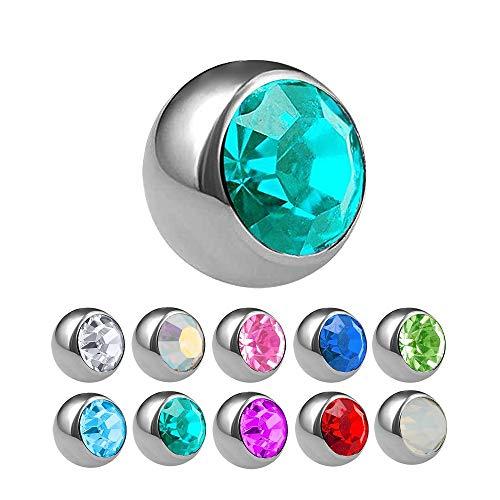 Treuheld® | Zilveren titanium piercing bal met schroefdraad met kristal