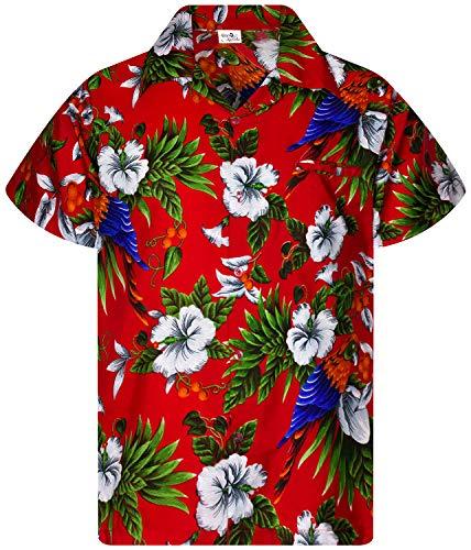 Funky Camicie Hawaiana Bambini Ragazzi Kids, Manica Corta, Print Cherryparrot, Rosso, 8