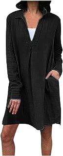 Aniywn Women's Pure Color Midi Dress Casual V-Neck Long Sleeve Pocket Loose Tops Tunic Dresses